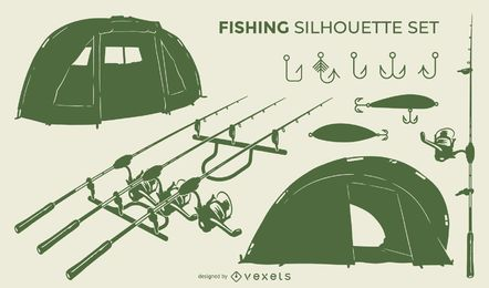 Fishing tools silhouette set