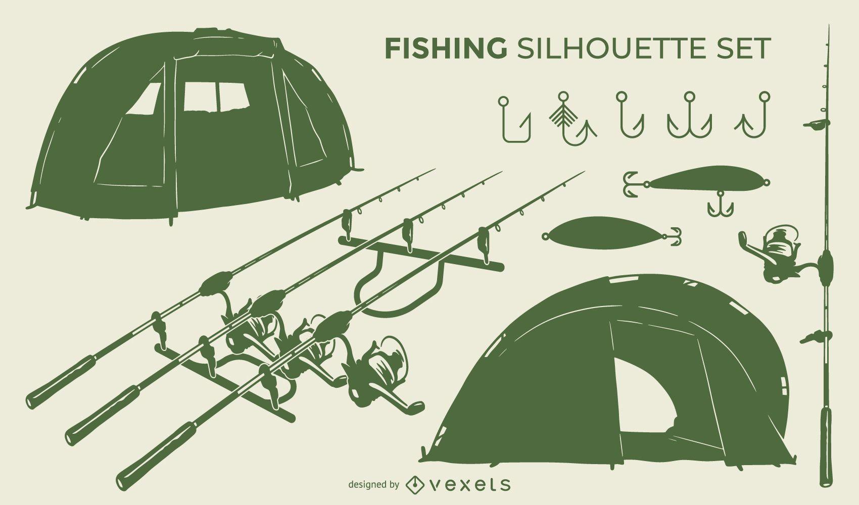 Conjunto de silueta de herramientas de pesca
