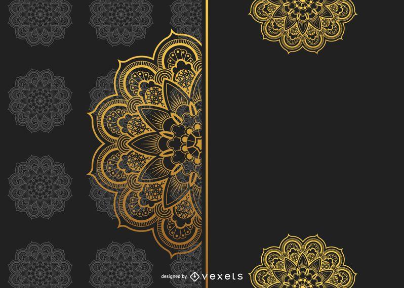 Diseño de fondo dorado Mandala