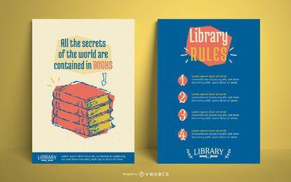 Diseño editable del cartel de la biblioteca