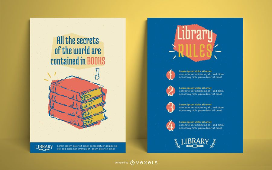 Library Poster Editable Design