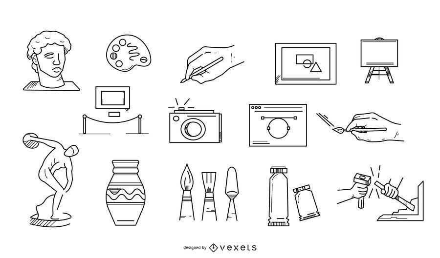 Colección de iconos de trazo de elementos de arte