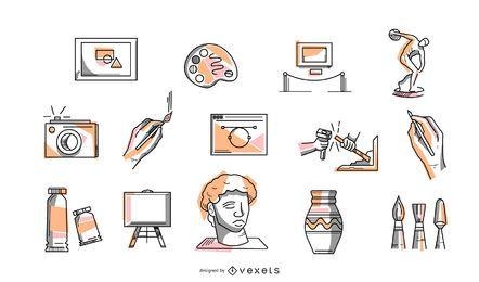 Coleção de ícone colorido de arte