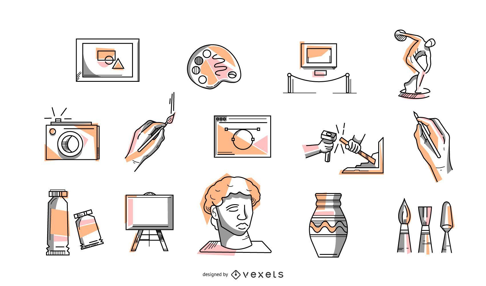 Colección de iconos de colores de arte