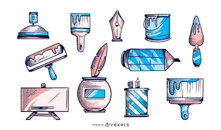 Coleção de elementos ilustrados do artista
