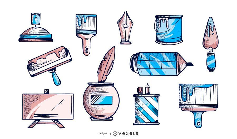 Colección de elementos ilustrados del artista
