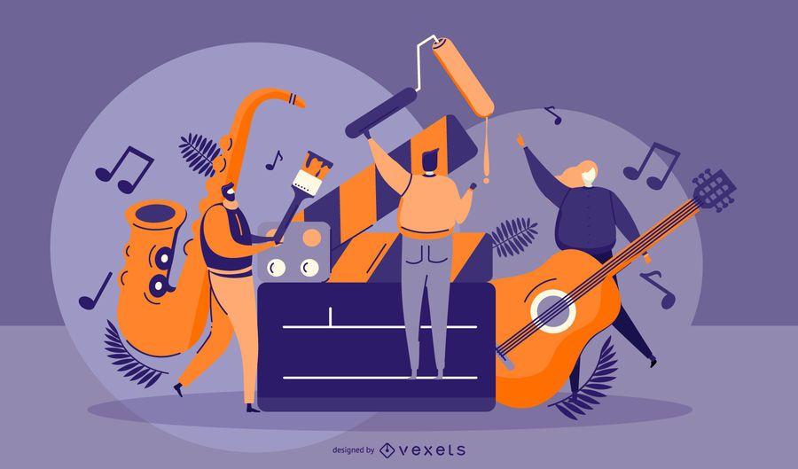 Ilustração gráfica de pessoas artísticas