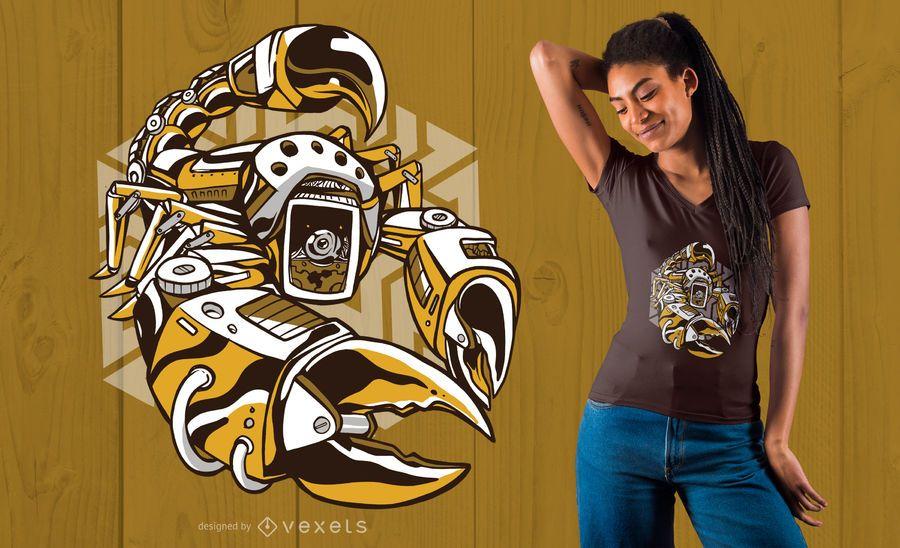 Projeto do t-shirt do escorpião de Steampunk