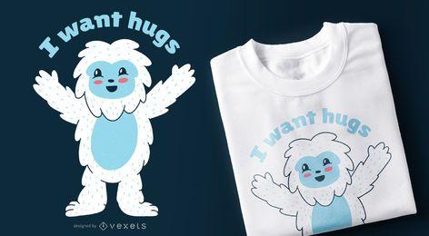 Design de t-shirt de abraços de Sasquatch