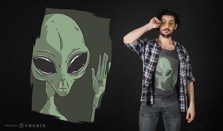 Diseño de camiseta que agita alienígena