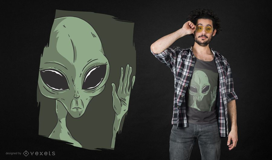 Alien Waving T-shirt Design