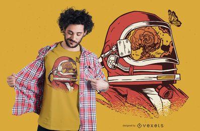Design de t-shirt de reflexão de capacete de astronauta