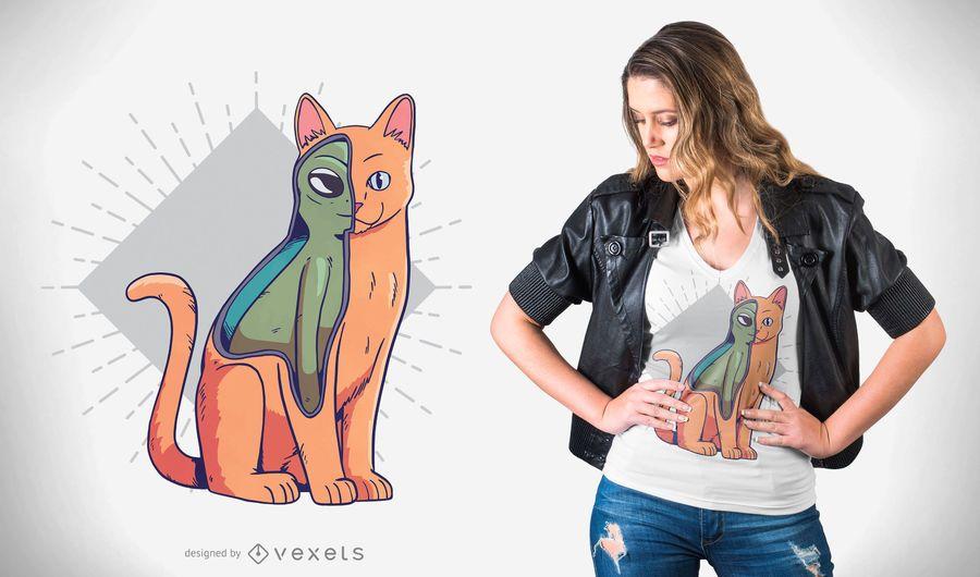 Diseño de camiseta de disfraz de gato alienígena