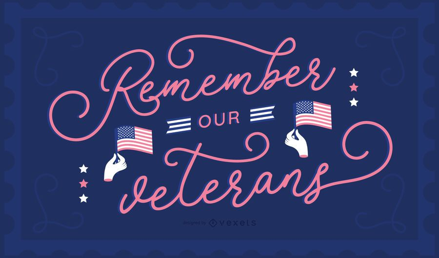 Fundo de letras do dia dos veteranos