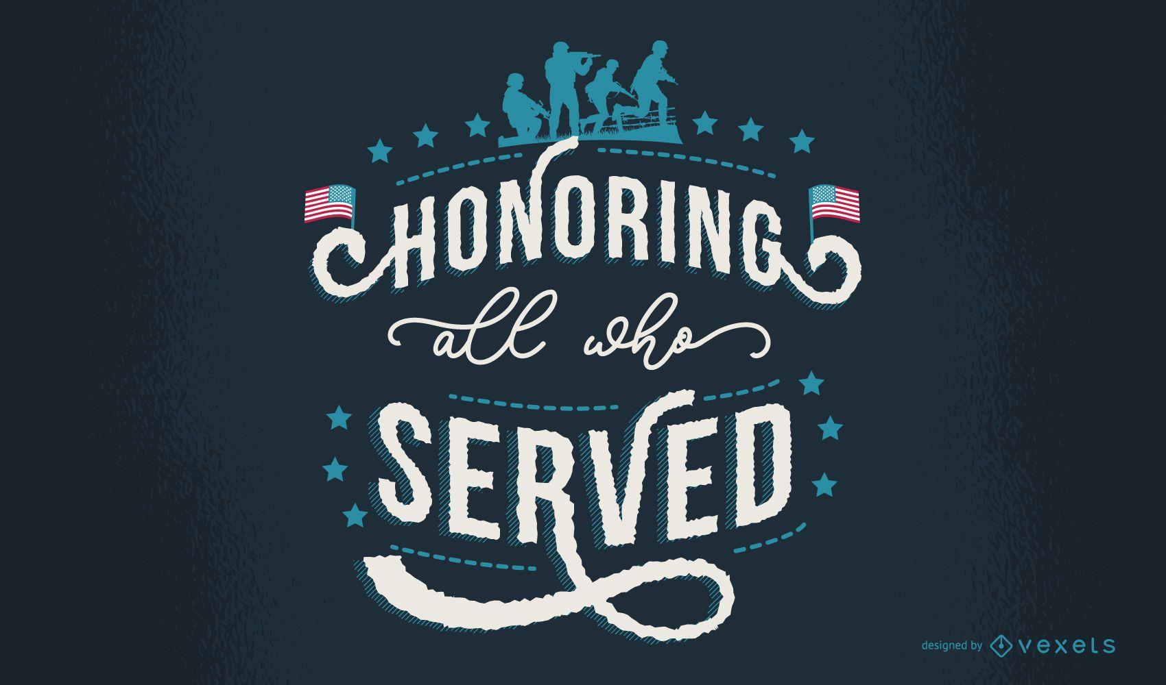 Fondo de pantalla de diseño de letras del día de los veteranos