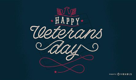 Happy Veterans Day Lettering Design
