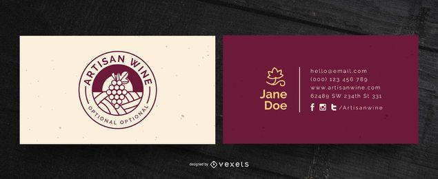 Design de cartão de visita de vinho