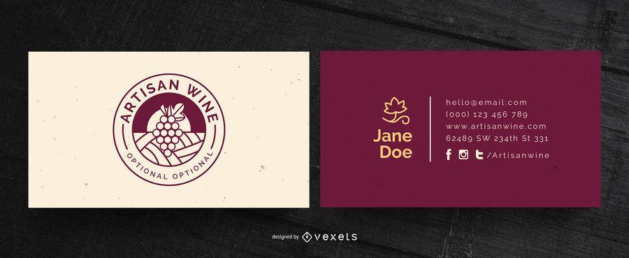 Diseño de tarjeta de visita de vino