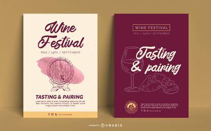 Plantilla de póster de negocios de vinos