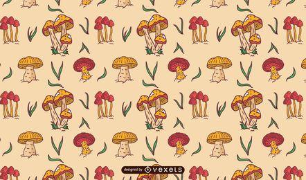 Desenho de padrão de cogumelos