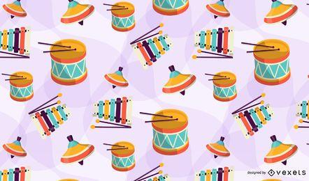 Diseño de patrón de juguetes coloridos