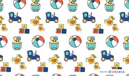 Diseño de patrón de juguetes de trazo colorido