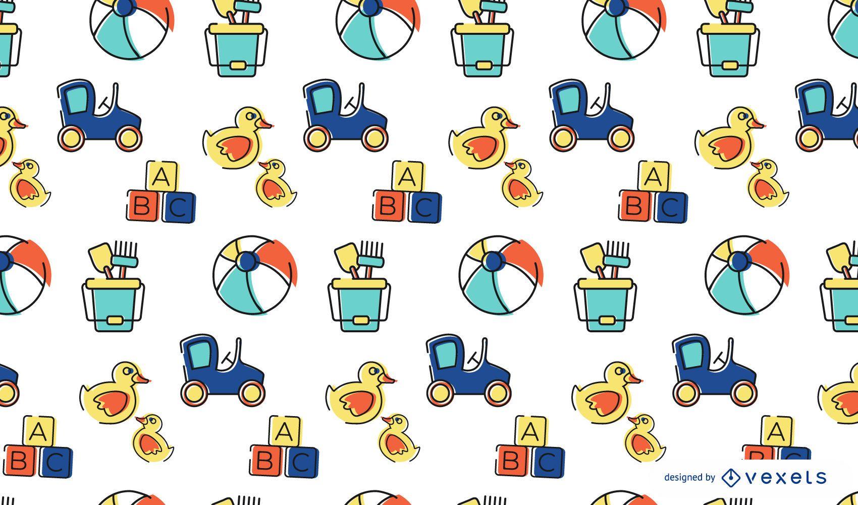 Colorful stroke toys pattern design