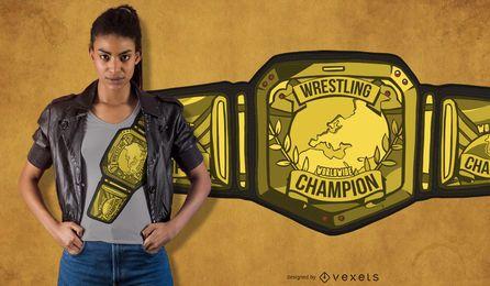 Diseño de camiseta de cinturón de lucha