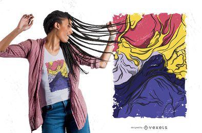Diseño de camiseta de montaña de pintura abstracta