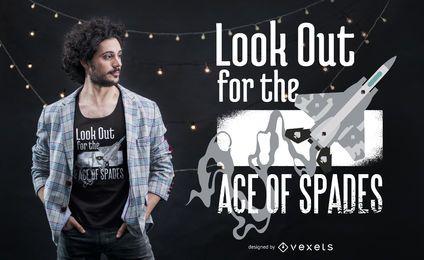 Design de t-shirt de citação de aviador de ás de espadas