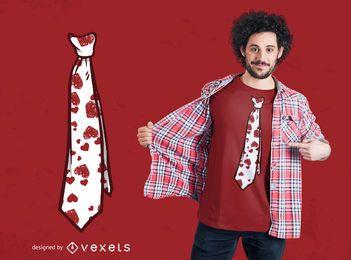 Diseño de camiseta con corbata de San Valentín