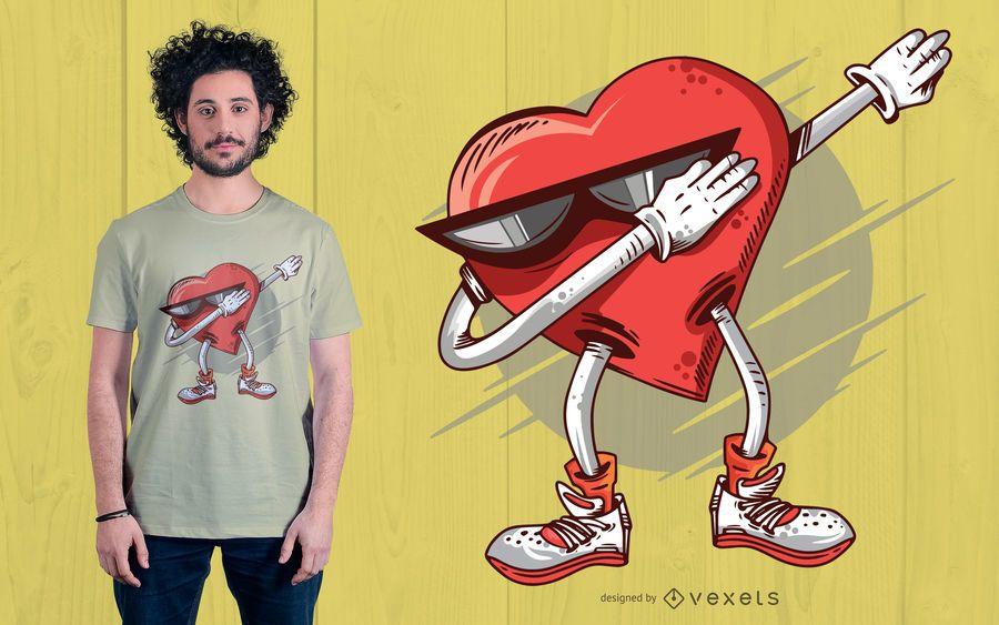 Betupfen des Herz-T-Shirt Entwurfs
