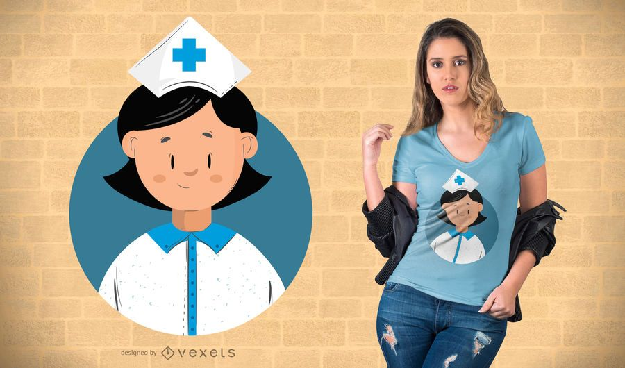 Flaches Design Krankenschwester T-Shirt Design