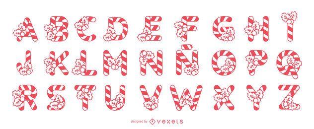 Conjunto de alfabeto de bastón de caramelo