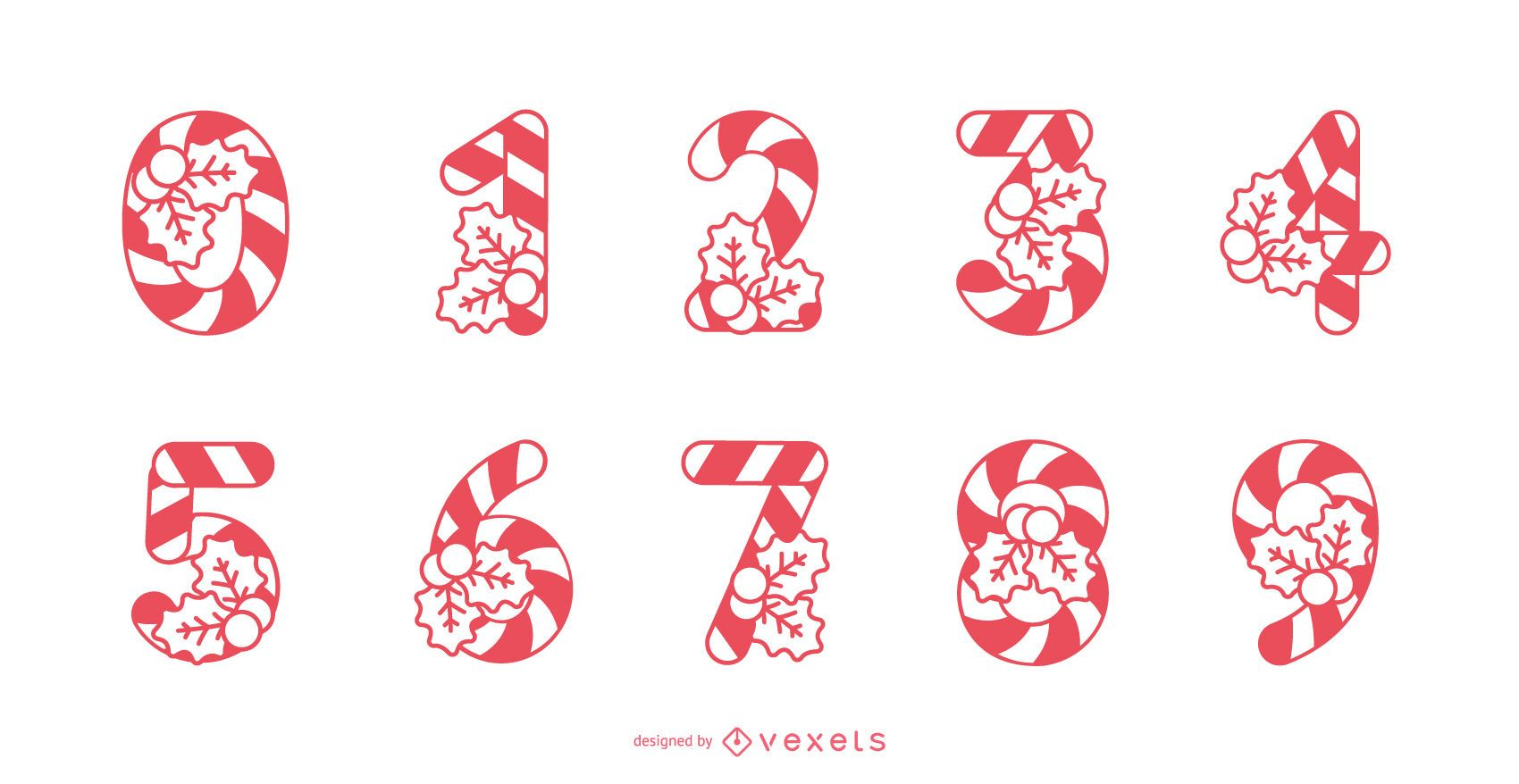 Candy cane numbers set