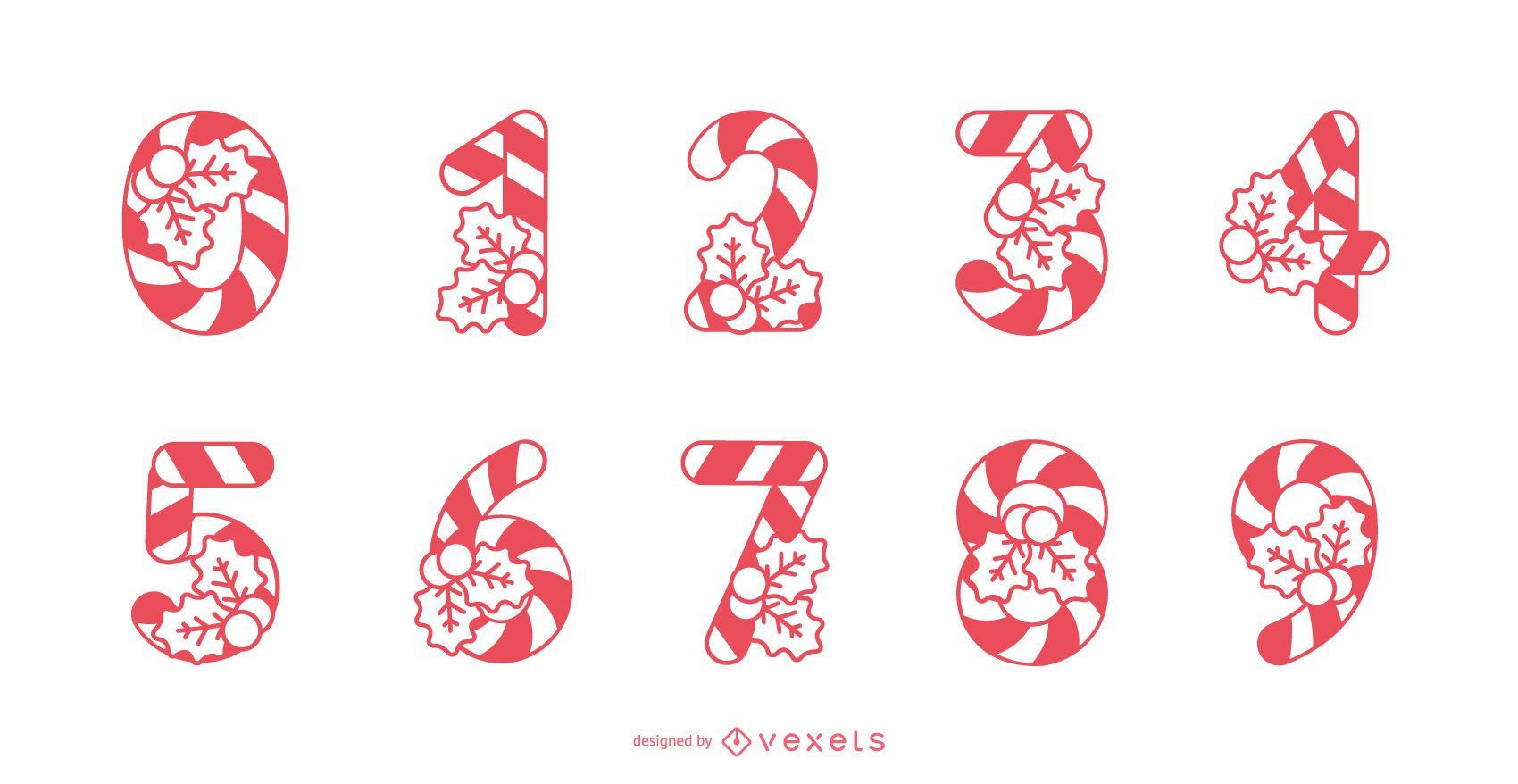 Conjunto de números de bastón de caramelo
