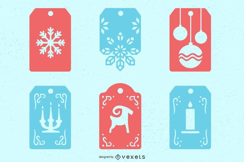 Christmas winter tags set