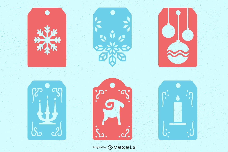 Conjunto de etiquetas de inverno de natal