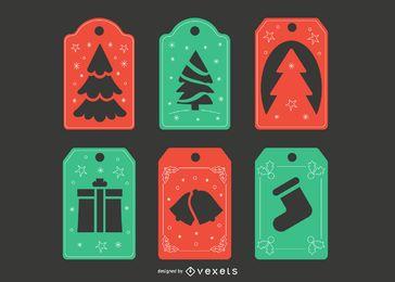 Conjunto de etiquetas navideñas de papercut