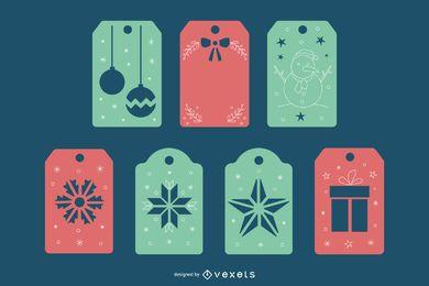 Paquete de etiquetas de navidad papercut