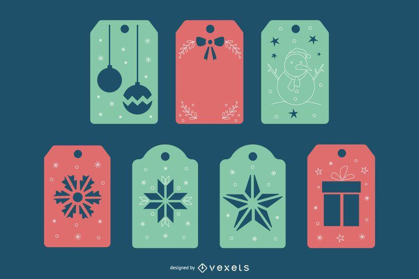 Pacote de etiquetas papercut de Natal