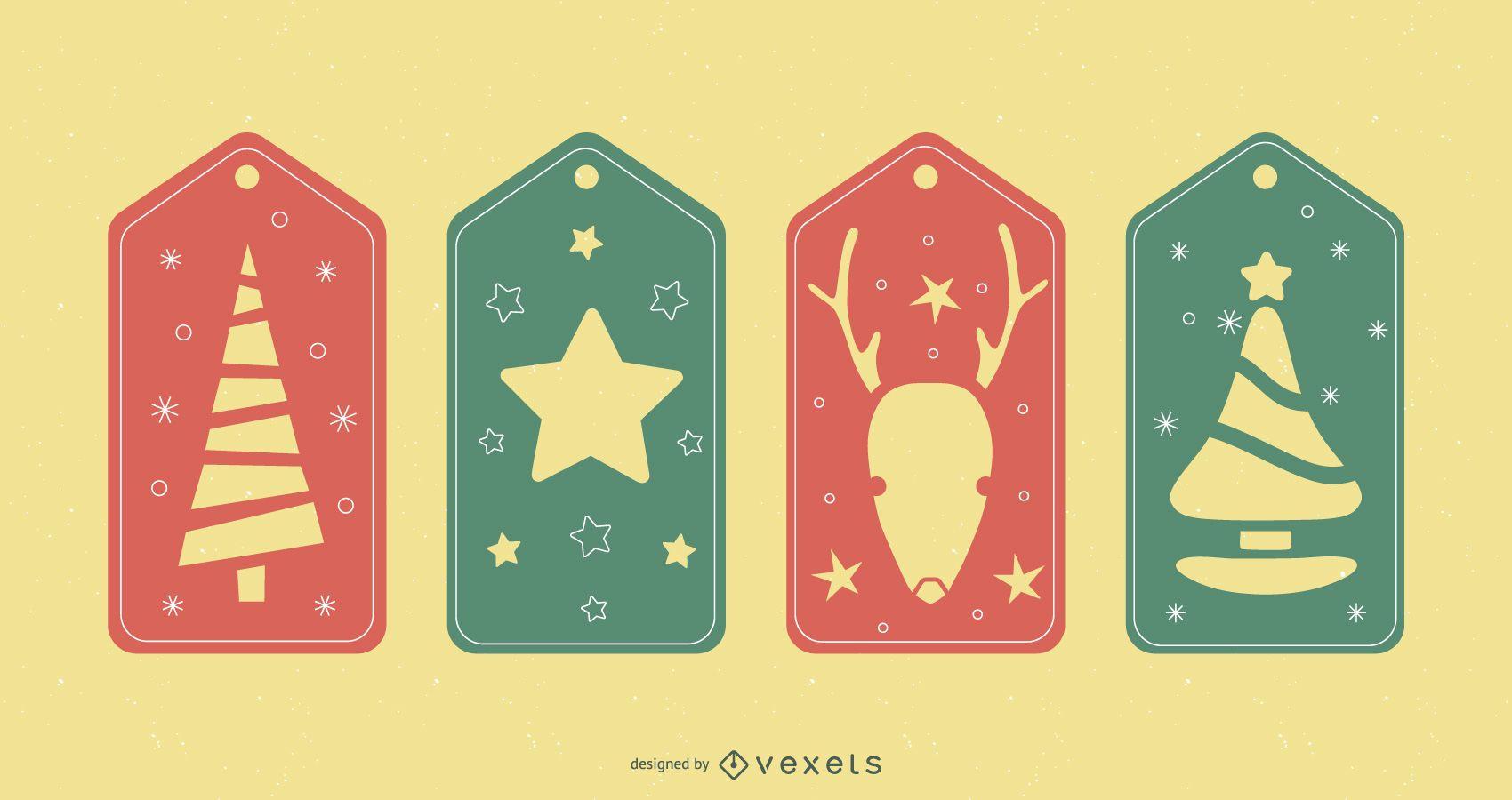 Christmas tags papercut set