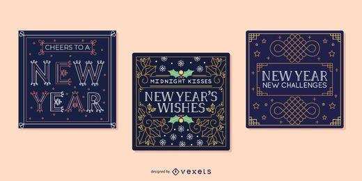Set de tarjetas de año nuevo