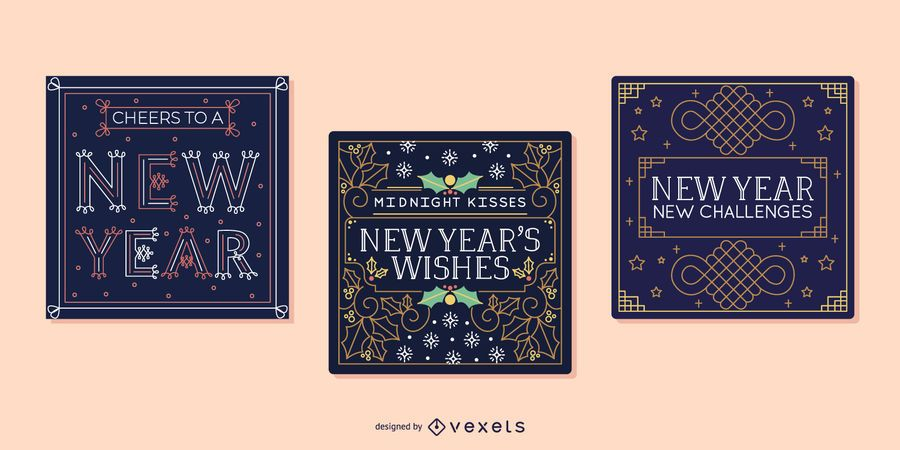 New year cards set