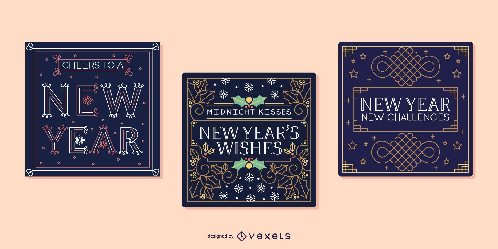 Conjunto de tarjetas de año nuevo