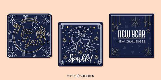Conjunto de tarjetas de felicitación de año nuevo