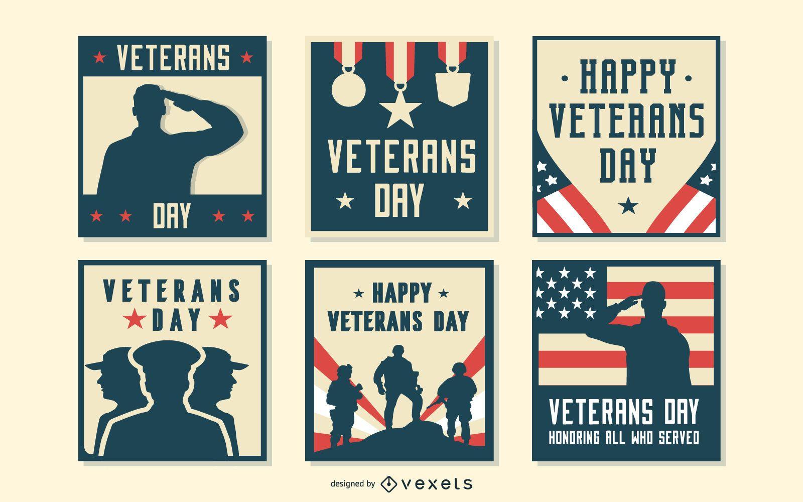 Conjunto de composições do dia dos veteranos