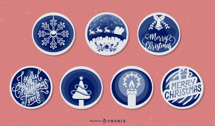 Christmas papercut vector set