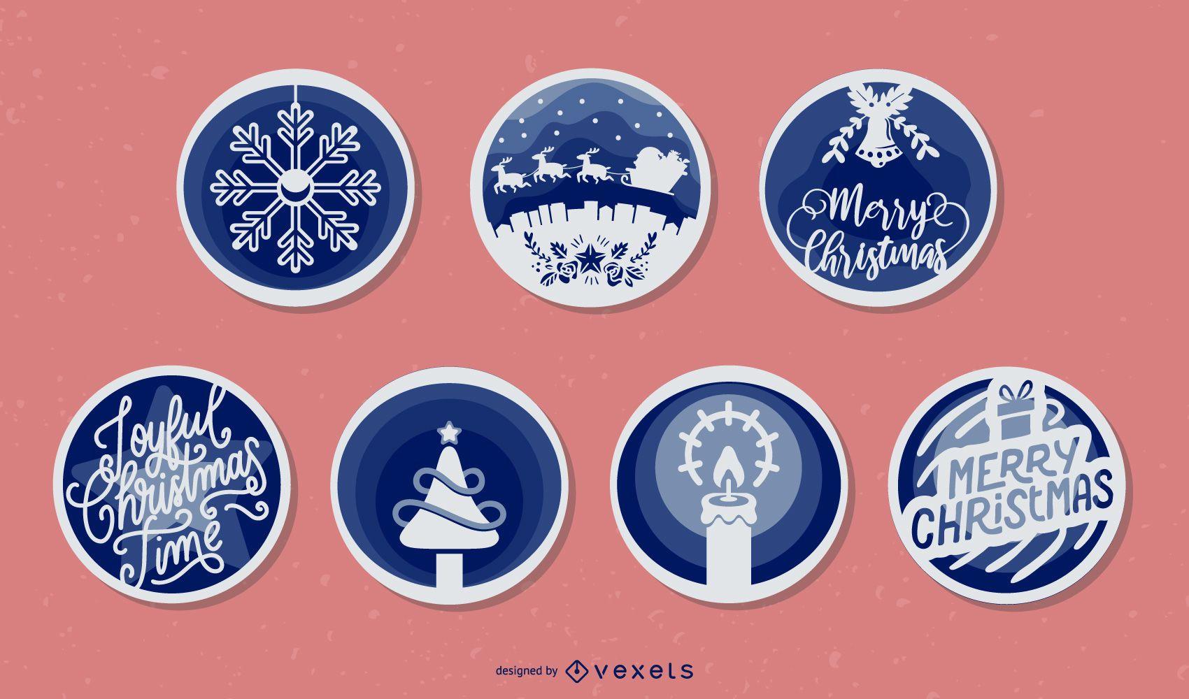Christmas papercut vector set