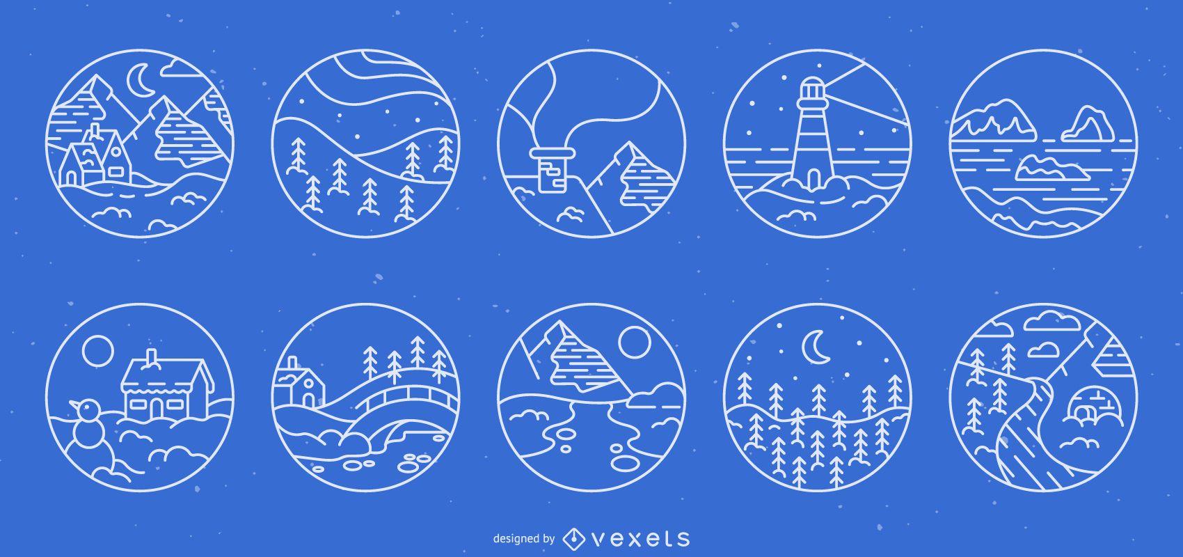 Conjunto de insignias de trazo de paisaje de invierno